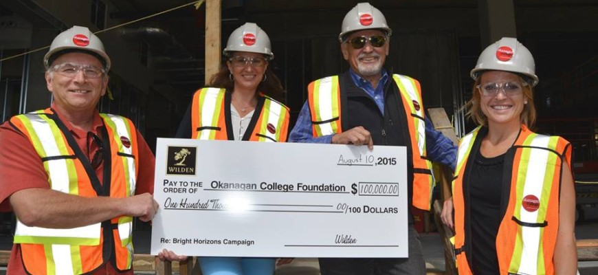 Wilden Gives Back To Our Community – Donation to Okanagan College