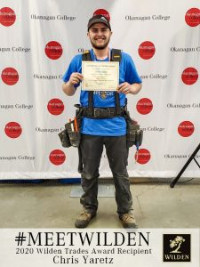 Chris Yaretz with Wilden Trades Award certificate in hand at Okanagan College image