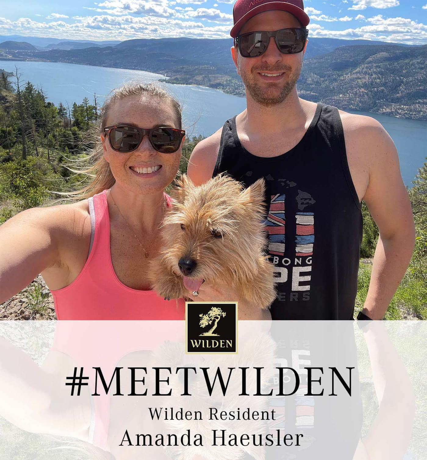 Amanda Haeusler with dog and partner at Wilden lake view lookout image